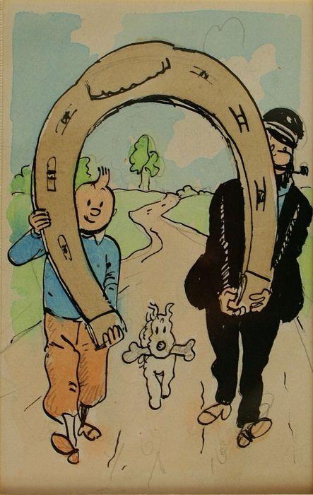 Herge - original drawing - postcard design - (1940s)