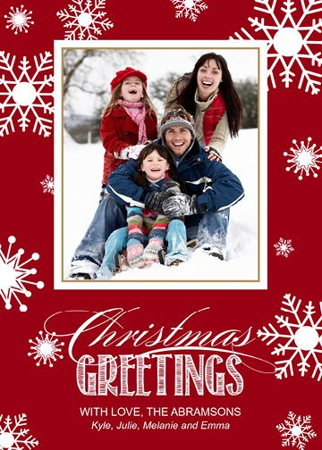 Flakes Flurry (5×7) Holiday Christmas Photo Card template from Focus in Pix.