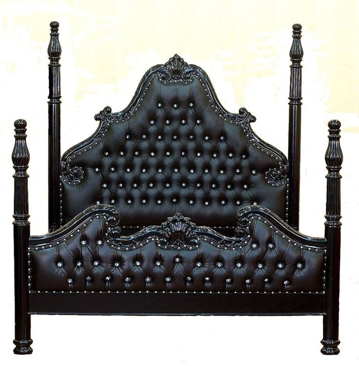 french louis xvi  poster bed black crystals king size