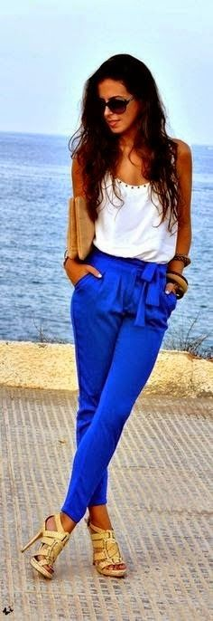 White cami, electric blue pants, neutral accessories
