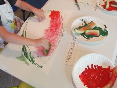 Summer School song, book, and writing, and craft.  Painting with watermelon rinds | Teach Preschool