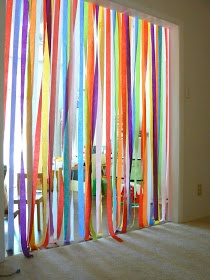 Paper strips, idea for birthday surprise - easy way to make home festive. Could be behind closes doors?