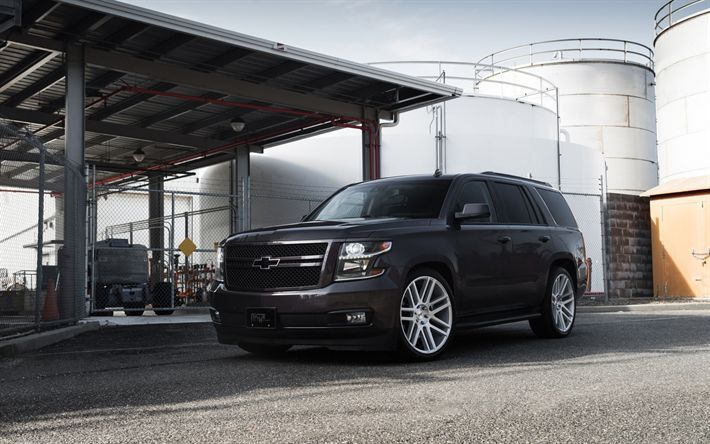 Download Wallpapers Chevrolet Tahoe Ltz 2018 Black Large Suv