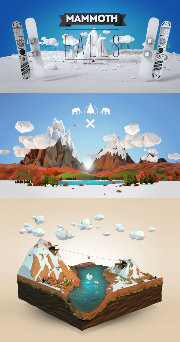Mammoth falls low poly