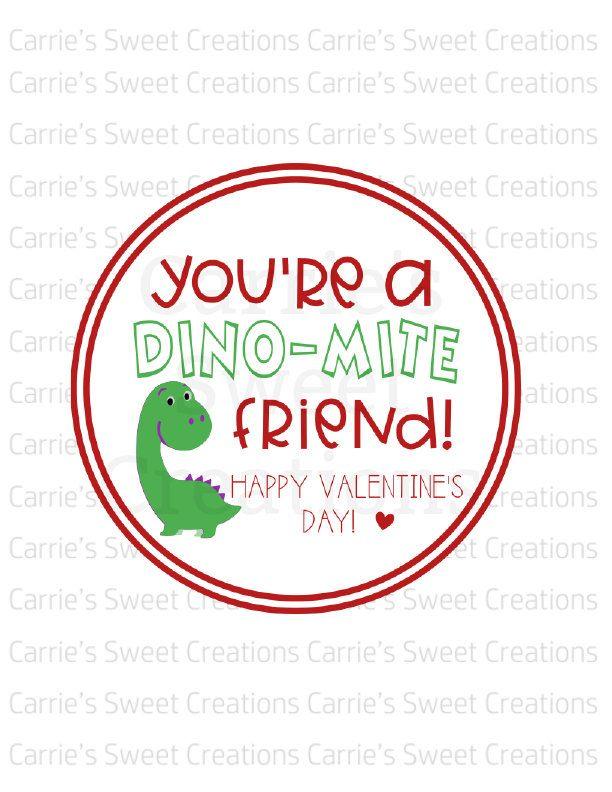 Dinosaur Valentine/'s Day Cookie Tag Valentine/'s Day Gift Tag Valentine You/'re Dinomite Tag Printable Valentine You/'re Dinomite Gift Tags