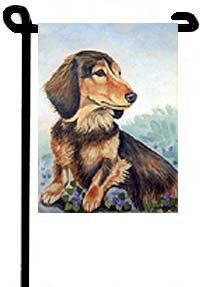 "Dachshund - Garden Flags by Flagline.com. $16.75. 11"" x 15"". The Garden size flag is made from a 100% polyester material. Two pieces of material have been sewn together to form a double sided flag. This allows the text and image to be seen the same from both sides. This flag is fade resistant and weather proof. The flag measures approximately 11 inches x 15 inches (garden stand sold separately).  This is a new item, and can take from 10-14 days to ship."