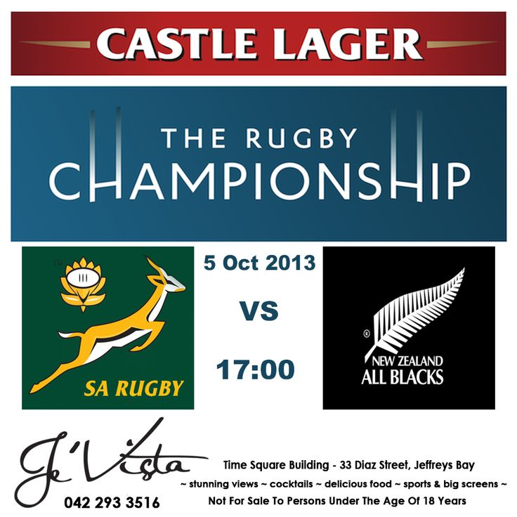 Join us for this nail biting #rugby match - #Springboks vs #NewZealand at 17:00. Good luck to our boys in Green & Gold! Followed by live music by the The Rythem Junkies