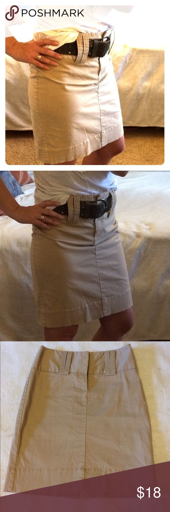 """The Limited khaki pencil skirt The Limited khaki pencil skirt. Wide belt loops to add a chunky belt, back center slit. Good condition. Length 21"""". The Limited Skirts Pencil"""