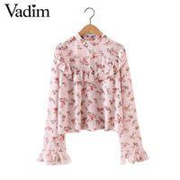 Женщины сладкий оборками шифон цветочные рубашка стенд воротник длинный рукав блузки двойные слои мода марка повседневная топы blusas LT1641
