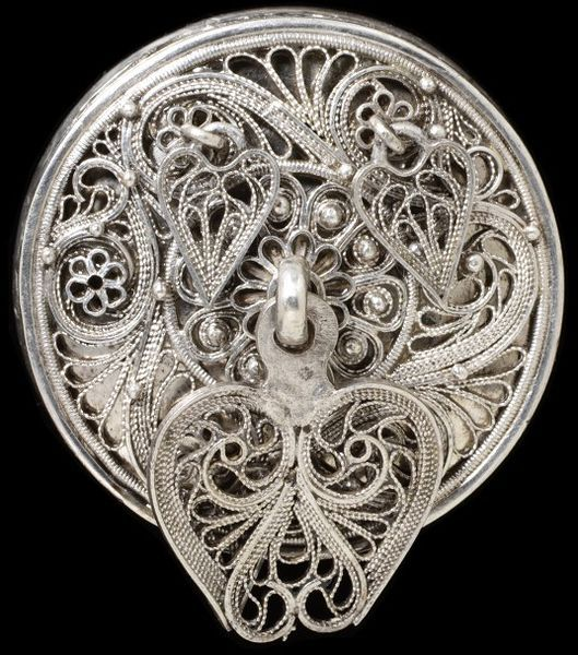 Button, silver sheet with openwork filigree, Iceland, circa 19th century, V&A Search the Collections