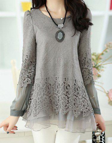 Long Sleeve Lace Embellished Solid Color Skirt Hem Women's T-shirt