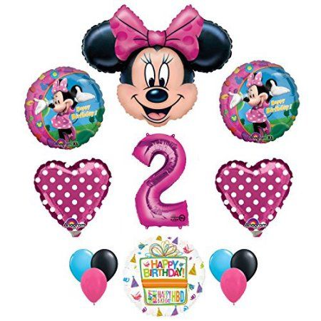 Minnie Mouse 2nd Birthday Party Supplies And Pink Bow 13 Pc Balloon