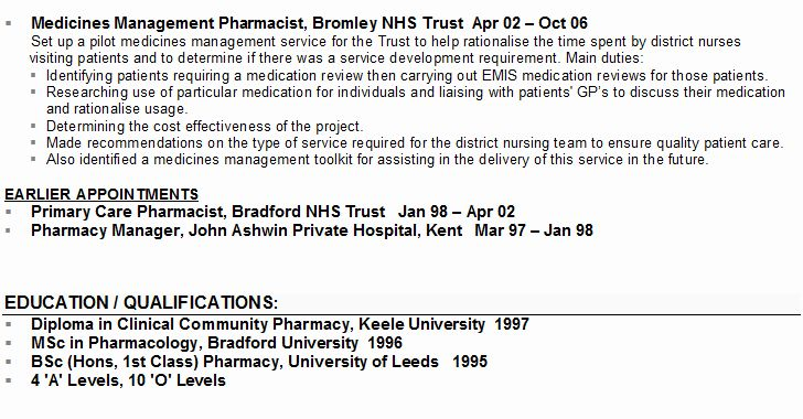 Pharmacist curriculum vitae template best of pharmacist cv