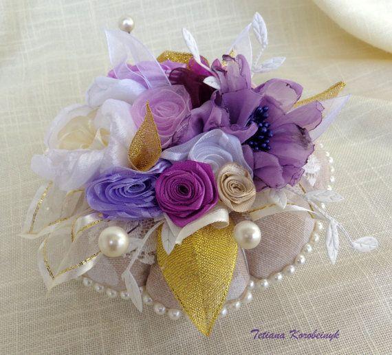 Pincushion ribbonwork present by SilkRibbonembroidery on Etsy