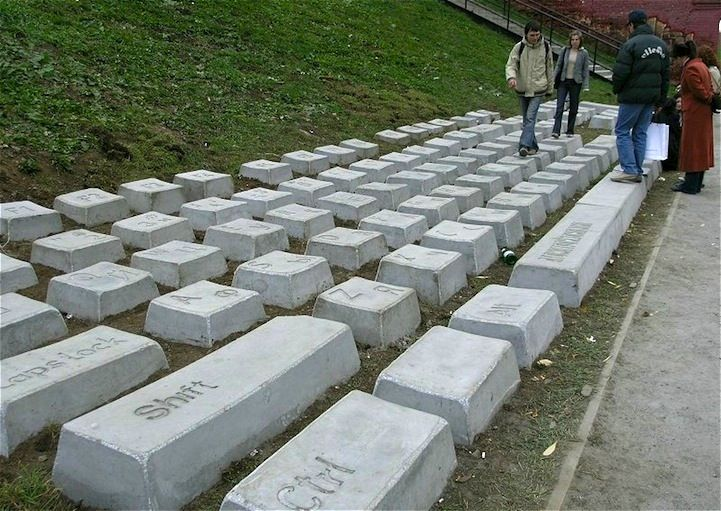 """Russian artist Anatoly Vyatkin installed a giant replica of a Cyrillic QWERTY keyboard made of 86 stone blocks, each weighing up to 1,000 pounds. The Keyboard monument (which in some circles also goes by the name """"Claudia"""") is a permanent outdoor sculpture located in Yekaterinburg, Russia, where it remains a prominent tourist attraction."""