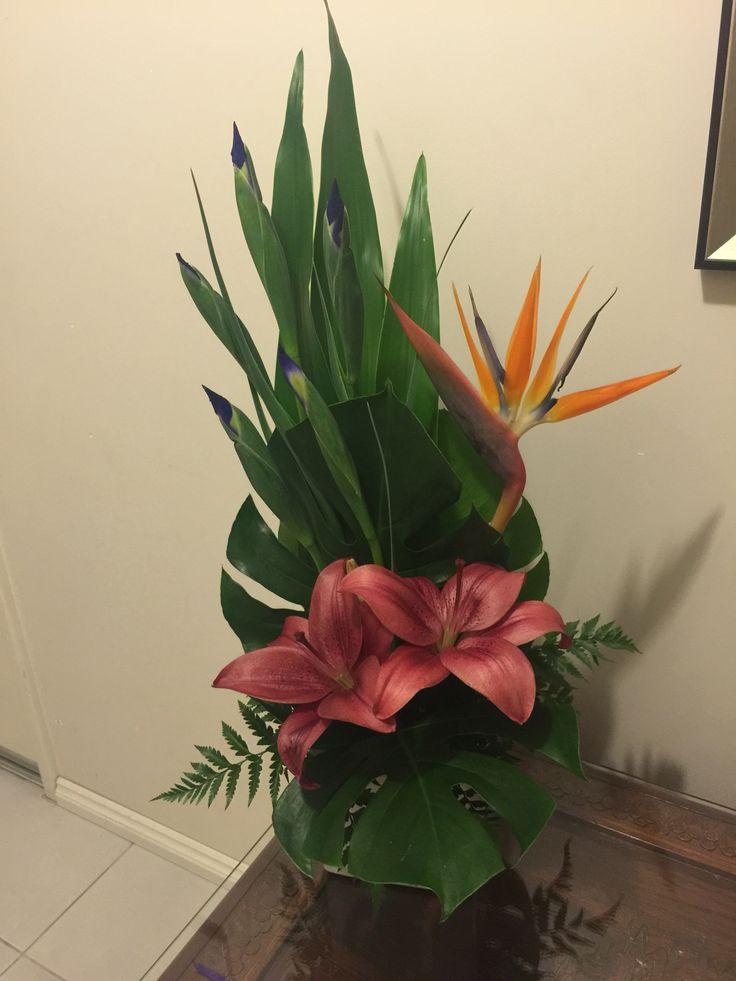 Lily bird of paradise arrangement