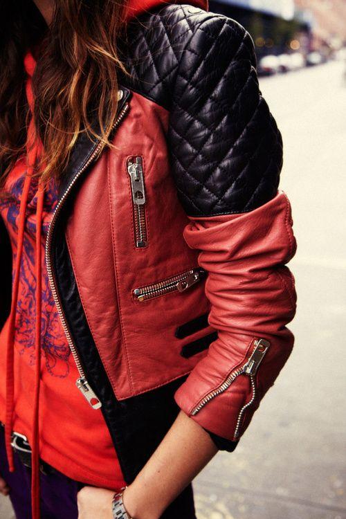 Motorcycle street. Balenciaga red and black leather jacket.➰