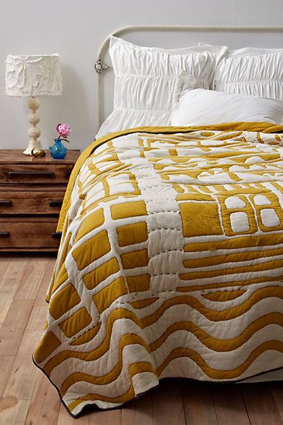 Alvorada Quilt #anthropologie $348    I think I could make thisDecor, Quilt Modern, White Chocolates, Beds, White Quilt, Alvorada Quilt, New Bedrooms, Mustard Yellow, Quilt Room