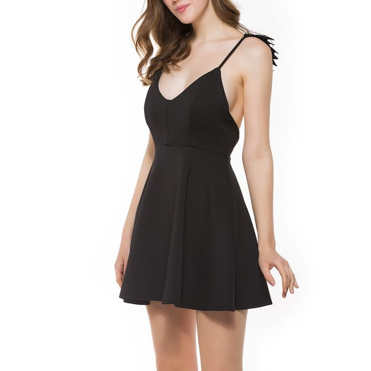 Only US$13.24, black l Sexy Women Dress Lace Angel Wings Dress Spaghetti Strap - Tomtop.com