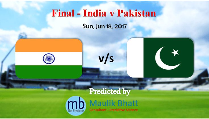 Get ICC Champions Trophy Cricket Predictions for Final Cricket Match - India v Pakistan. Cricket Match Predictions Tips from Maulik Bhatt -The Predictor. Providing most Accurate Sports Prediction like Cricket and Football since 2003.