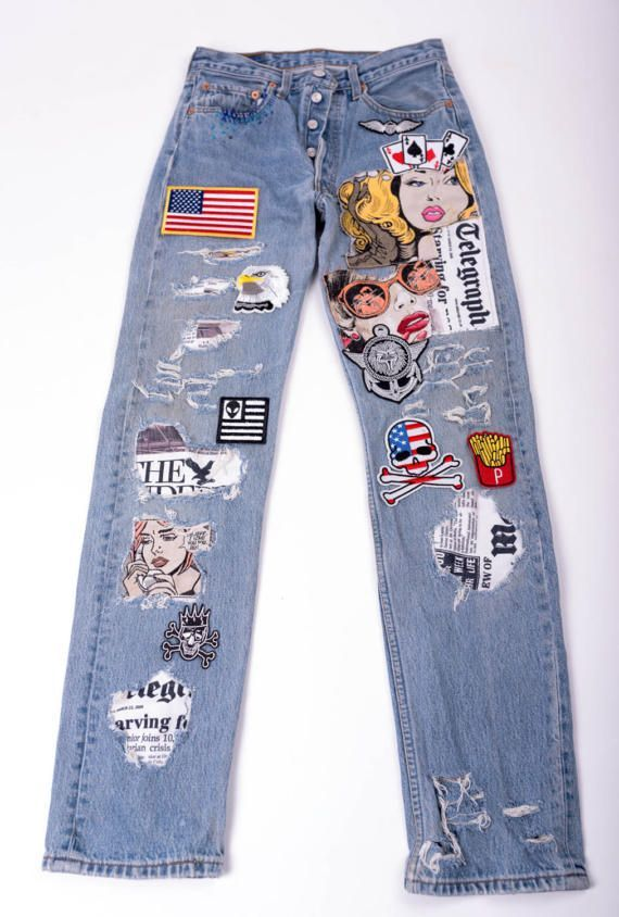Reworked Vintage Levi's Jeans with Patches / Redone denim vintage levi's jeans / Boyfriend Mom jeans.myqweenswish