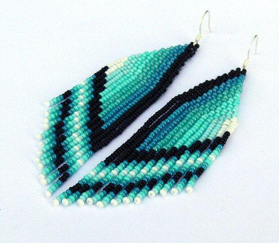 Beaded Earrings. Native American Earrings Inspired. Ombre Earrings. Mint, Blue, White, Black,Teal Earrings. Beadwork