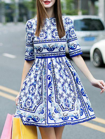 Blue Half Sleeve White and Blue Porcelain Print Dress -SheIn(Sheinside) Mobile Site