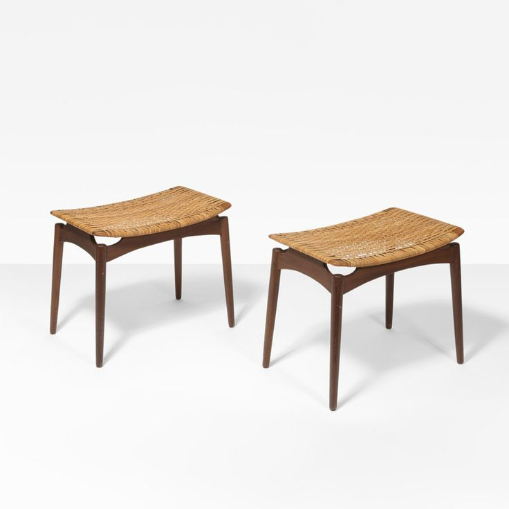 Finn Juhl; Teak and Cane Stools for Dlholm Furnitures, 1960s.