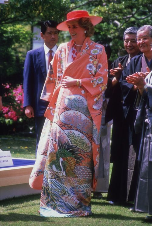 May 9, 1986: Princess Diana wearing a Japanese Kimono during her tour of Nijo Castle in Kyoto, Japan