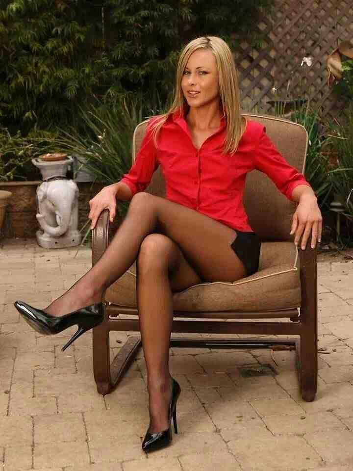Gorgeous In A Red Blouse Black Mini Skirt Sheer Black