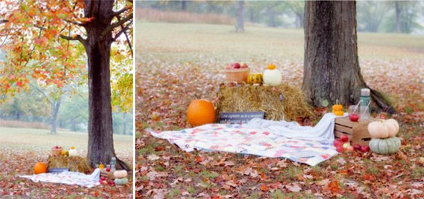 How to style a fall family photo session- love this setup! Quilts, pumpkins, apples, cider, hay bail... Fall family photo session // with The Sweeter Side of Mommyhood
