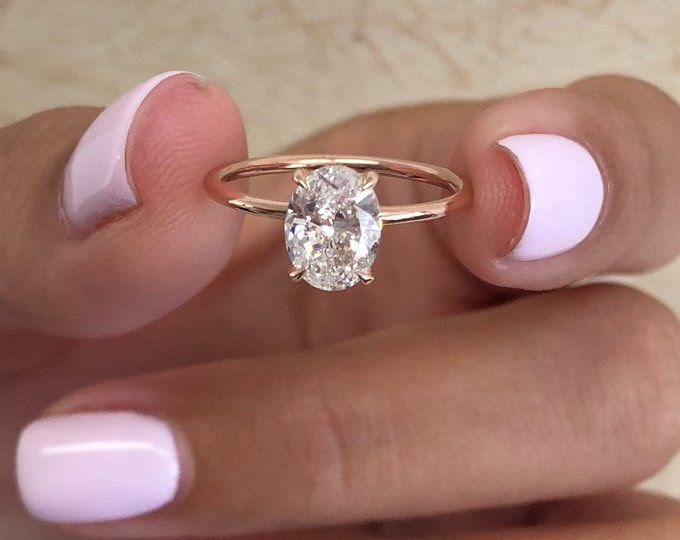 Oval Diamond Engagement Ring 1 Carat Oval Shape 18k Rose Etsy In 2020 Oval Diamond Engagement Ring Rose Engagement Ring Fine Engagement Rings