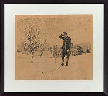 FRIDTJOF NANSEN OSLO 1861 - BÆRUM 1930  En pust i bakken Litografi, 29x38 cm Signert og datert nede til høyre: Fridtjof Nansen 192?
