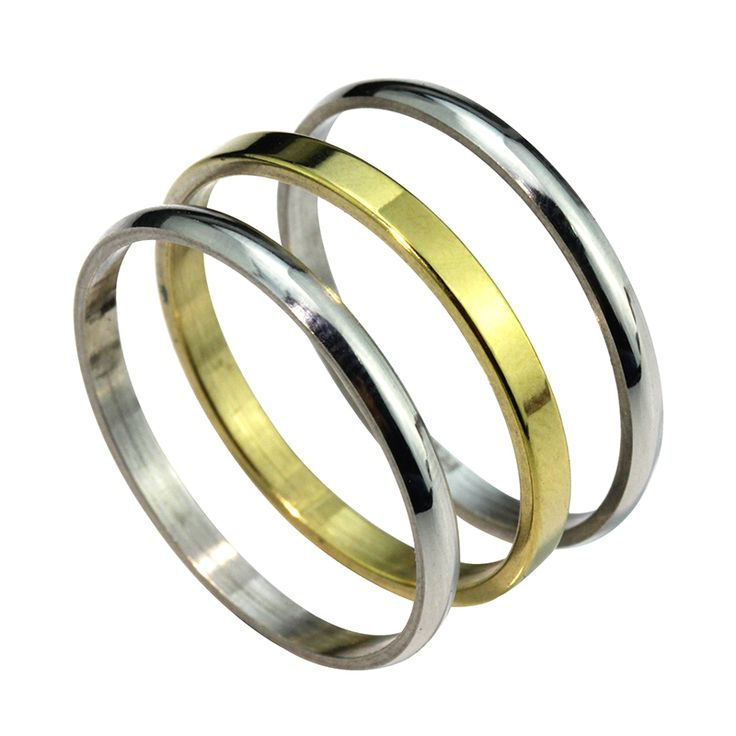 MMS 3pcs/set Stainless Steel Thin Ring Set Gold Plated silver Lovely Little Finger set for women Girl 2mmX3