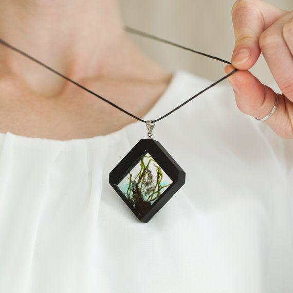 Botanical necklace Silver 925 necklace Ebony wood by vzorko