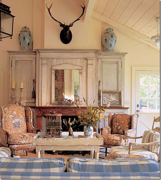 Faudree - Swedish influence - love the mantle and paneled ceiling
