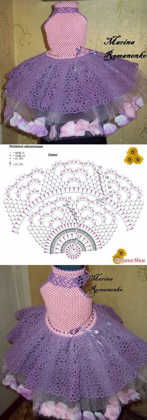 Схема вязания юбки для детского нарядного платья
