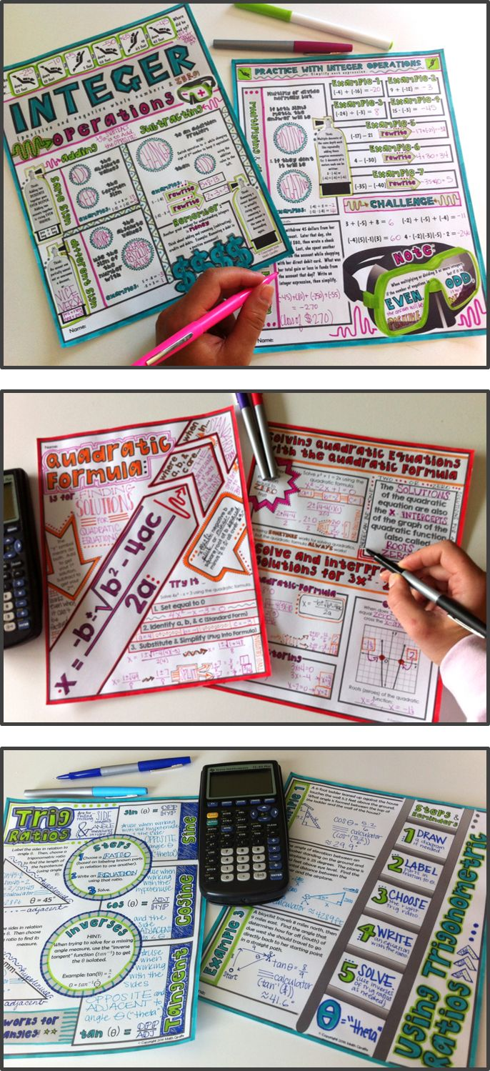 """Math """"doodle notes"""" - a creative approach that gets both sides of the brain working together to maximize retention! These are amazing for focus, memory, and learning!"""