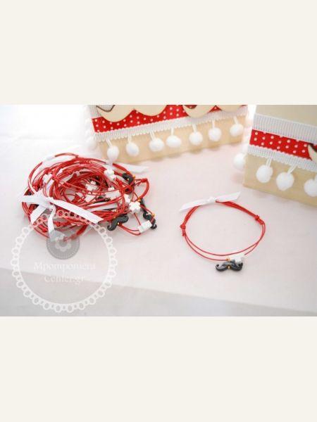 Μαρτυρικό βραχιόλι με μουστάκι σε κόκκινο, μουστάκι μαύρο με λευκό σταυρό & λευκή κορδέλα