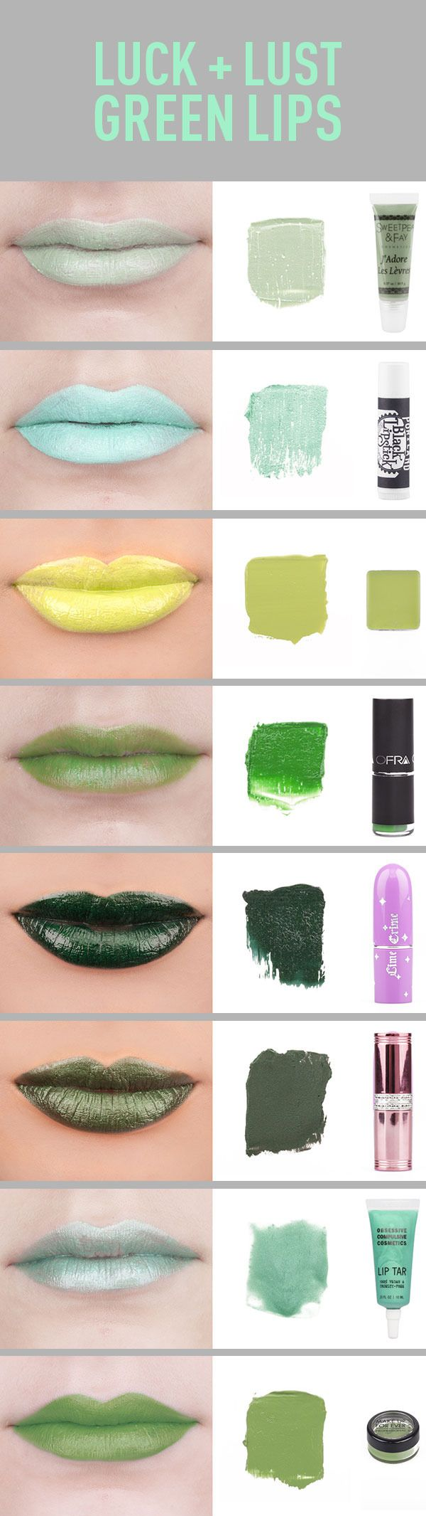 Green Lipstick Swatches and Reviews. I love these colors! But for the young and bold, being my age, my experienced beauty is bold enough :) I think sublet is best for me. Well subtle with a little flair anyway.