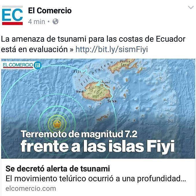 """Un terremoto de magnitud 72 en la escala de Richter sacudió hoy (3 de enero de 2017) una zona marina al sur de las islas Fiyi en el Pacífico sur informó el Centro Geológico de Estados Unidos (USGS). El Centro de Alerta de Tsunamis del Pacífico (PTWC) emitió un aviso para advertir de que """"peligrosas olas de tsunami son posibles para costas localizadas dentro de 300 kilómetros del epicentro del terremoto"""". El temblor ocurrió a las 16:52 hora de Ecuador y su hipocentro se localizó a 152…"""