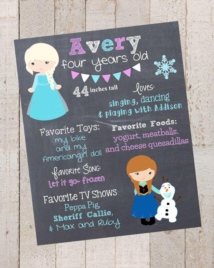 First Birthday Chalkboard- Elsa- Anna- Custom First Birthday Sign-Frozen Birthday- Chalkboard Stats-Digital File-Birthday Party-Birthday by xHarpersHalosx on Etsy https://www.etsy.com/listing/206108638/first-birthday-chalkboard-elsa-anna