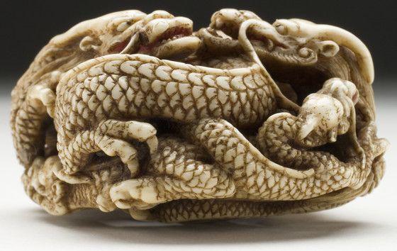 Five Dragon Group 龍五匹 Ikkōsai (Saitō Itarō) (Japan, 1805-1876) Japan, mid-19th century Ivory with staining, sumi, red pigment, inlays | LACMA Collections
