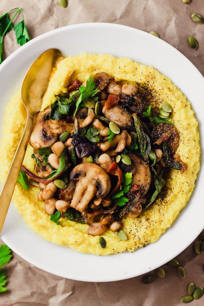 Creamy Vegan Polenta With Mushrooms And Beans Emilie Eats Recipe Polenta Recipes Vegan Whole Food Recipes Healthy Recipes