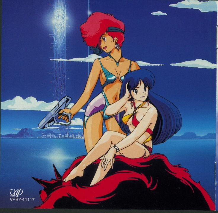 I like how this piece manages to simultaneously evoke the art styles of both the pulp serial and Golden Age sci-fi traditions. Very apropos for Dirty Pair.   Dirty Pair, Kei and Yuri on Mugi
