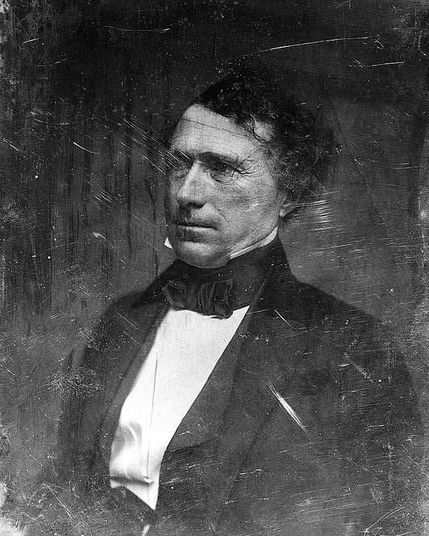 You are looking at a beautiful picture of Franklin Pierce, head-and-shoulders portrait, three-quarters to the left. It was taken in 1851.    The picture presents President of the United States, 1853-1857.    We have created this collection of pictures primarily to serve as an easy to access educational tool. Contact curator@old-picture.com.    Image ID# F8D4433C