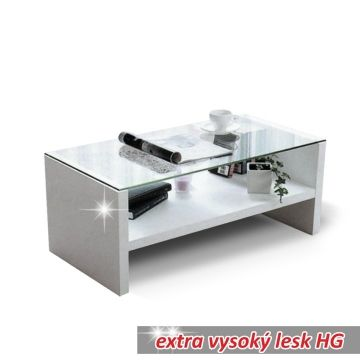 Konferenční stolek TIBER bílý, vysoký lesk HG