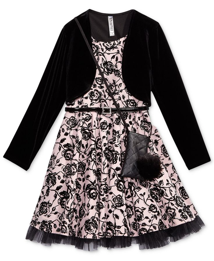 Beautees 2-Pc. Velvet Jacket & Dress Set With Coordinating Purse, Big Girls (7-16) | macys.com