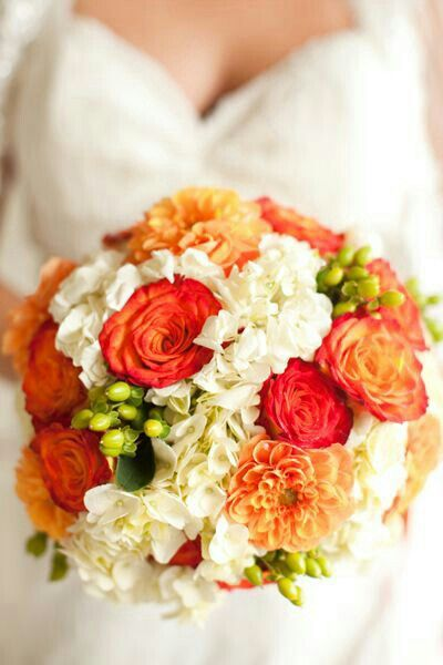 Round Bridal Bouquet With: Orange Chrysanthemum, Orange & Red-Orange Roses, Green Hypericum, White Hydrangea