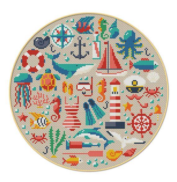 BOGO+FREI+Sea+Kreuzstich-Muster+von+MyCrossStitching+auf+Etsy